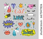 colorful vector set of hearts ... | Shutterstock .eps vector #667047826