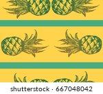 hand drawn striped pineapple... | Shutterstock .eps vector #667048042