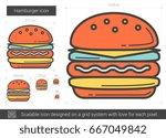 Hamburger Vector Line Icon...