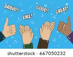 hands clapping  applause and... | Shutterstock .eps vector #667050232