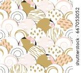 seamless pattern of  circles... | Shutterstock .eps vector #667053052