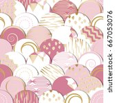 seamless pattern of  circles... | Shutterstock .eps vector #667053076