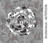 negotiation on grey camouflage... | Shutterstock .eps vector #667053106
