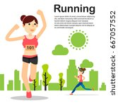 young people running jogging... | Shutterstock .eps vector #667057552