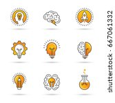 icons set with brain  light... | Shutterstock .eps vector #667061332