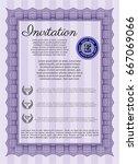violet retro invitation... | Shutterstock .eps vector #667069066