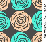 roses. floral seamless pattern  | Shutterstock .eps vector #667078612
