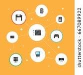 flat icons printer  controller  ... | Shutterstock .eps vector #667089922