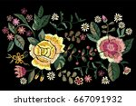 embroidery folk pattern with... | Shutterstock .eps vector #667091932