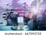 double exposure of businessman... | Shutterstock . vector #667093735