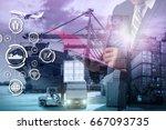 double exposure of businessman...   Shutterstock . vector #667093735