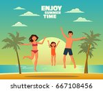 happy family jumping on a sandy ... | Shutterstock .eps vector #667108456