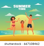 happy family jumping on a sandy ... | Shutterstock .eps vector #667108462