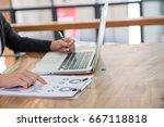business people having meeting... | Shutterstock . vector #667118818