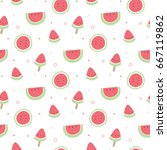 seamless pattern of watermelon... | Shutterstock .eps vector #667119862