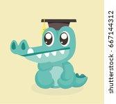 cute cartoon crocodile. | Shutterstock .eps vector #667144312