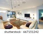 television in living room near...   Shutterstock . vector #667151242