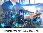 double exposure of businessman... | Shutterstock . vector #667152028