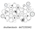 small buttons and hive with... | Shutterstock .eps vector #667153342