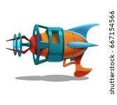 cartoon retro space blaster ... | Shutterstock .eps vector #667154566