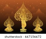 buddha and bodhi tree gold... | Shutterstock .eps vector #667156672