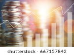 stacked of coin money with... | Shutterstock . vector #667157842