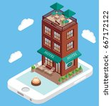 hotel building on mobile phone... | Shutterstock .eps vector #667172122