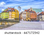 colorful houses in castle... | Shutterstock . vector #667172542