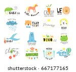 vector hand drawn set elements ... | Shutterstock .eps vector #667177165
