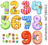 set of color numbers. digits... | Shutterstock . vector #667180312