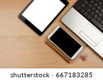 digital tablet with blank... | Shutterstock . vector #667183285