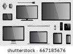 set of realistic tv  computer... | Shutterstock .eps vector #667185676
