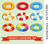 set of isolated lifebuoy or... | Shutterstock .eps vector #667191385