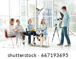 group of students with... | Shutterstock . vector #667193695