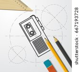 vector blueprint retro... | Shutterstock .eps vector #667193728