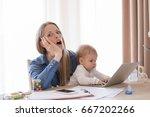 full time mom in shock working... | Shutterstock . vector #667202266