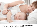 young woman with cute sleeping... | Shutterstock . vector #667207576