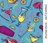seamless pattern with cocktails ... | Shutterstock .eps vector #667210462
