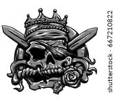 pirate skull with knife and... | Shutterstock . vector #667210822