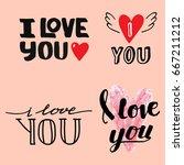 vector i love you text overlays ... | Shutterstock .eps vector #667211212