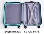 large open fashionable suitcase.... | Shutterstock . vector #667215976
