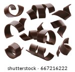 chocolate curls set 1 isolated... | Shutterstock . vector #667216222
