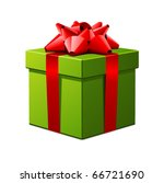 green gift with red bow vector... | Shutterstock .eps vector #66721690