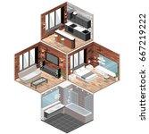isometric flat 3d concept... | Shutterstock .eps vector #667219222