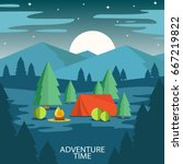summer camp. landscape with red ... | Shutterstock .eps vector #667219822