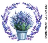 wreath of wildflowers  lavender ... | Shutterstock . vector #667226182