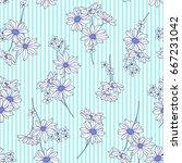 flower illustration pattern | Shutterstock .eps vector #667231042