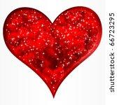 Big Red Glitter Heart. Vector.