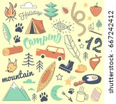 camping freehand hand drawn... | Shutterstock .eps vector #667242412