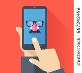vpn app  anonymous proxy. hand... | Shutterstock .eps vector #667242496